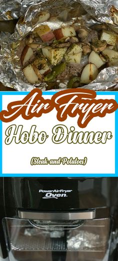 The Air Fryer Steak Hobo Dinner Recipe is an all-in-one recipe that is filled with juicy and flavorful steak, potatoes, peppers, mushrooms, and a handful of seasonings. recipes steak Hobo Dinner in The Air Fryer Oven (Steak and Potato Foil Packet) Hobo Dinner Recipes, Hobo Dinners, Foil Pack Dinners, Foil Packet Potatoes, Seared Salmon Recipes, Sauce Pizza, Air Fryer Oven Recipes, Oven Fryer, Power Air Fryer Recipes