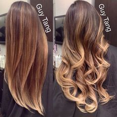 """""""My client Judy got my color and cut treatment today! Looks better in person ! But wanted to share how straight hair doesn't reflect light and when I curl…"""""""