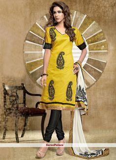 Yellow Shaded Chanderi Cotton Churidar Salwar Suit