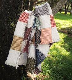 Baby Patchwork Rag Quilt - READY TO SHIP - Baby Shower Gift, Handmade, Rustic Quilt, Cottage Chic Quilt, Crib Quilt, Farmhouse Decor by TheLaughingBlackbird on Etsy