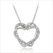 Crystal Double Heart White Gold Plated Pendant & Necklace with Adjustable Tail Chain at Giftopia Shop 18th, Wedding Day, White Gold, Bling, Chain, Crystals, Diamond, Pendant, Heart