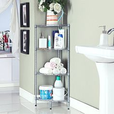 Homfa 4Tire Wire Corner Storage Shelves Free Standing Bathroom Corner Shelf Corner Rack Display Shelf Kitchen Storage Wire Shelving Grey ** Check out the image by visiting the link.Note:It is affiliate link to Amazon. #HomeOfficeFitting