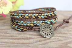 Under the Sea Triple Leather Wrap Bracelet by BearCreekCollection