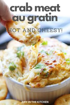 Crab Meat au Gratin Crab Meat au Gratin is a hot crab dip that is easy and delicious and always a hit at any party that you can make ahead! This fancy dip is elegant and perfect for a crowd. Hot Appetizers, Seafood Appetizers, Seafood Dinner, Appetizer Recipes, Seafood Party, Appetizer Dips, Can Crab Meat Recipes, Fish Recipes, Seafood Recipes