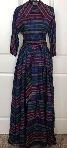 Vintage 1940s Flobert Striped Maxi Dress Gown Belt 3/4 Dolman Sleeve Blue XS #Flobert #GownMaxiDress