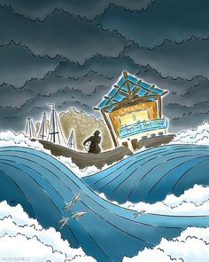 The Seaside Cafe Illustration - Art Print - Seaham Nautical Beach Sea Cafe Restaurant in Storm Wall Art Sea Illustration, Building Illustration, Flat Design Illustration, Wave Book, Seaside Cafe, Sea Storm, Cafe Branding, Cafe Art, Original Artwork