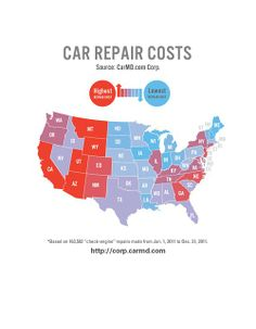 Does the same automotive repair cost about the same in every city or state? NO! Generally citizens of the west coast pay more for automotive repairs!