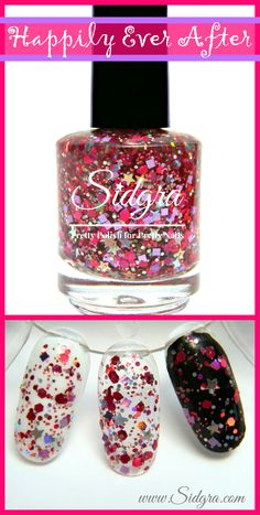 Glitter Nail Polish by Sidgra | Happily Ever After | Custom Blended - Full Size Bottle. 5-Free, Vegan, & Cruelty Free $9.99 Sidgra.com #sidgra #glitternailpolish