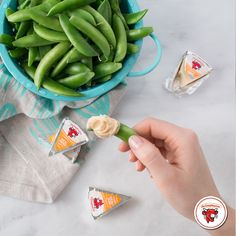 Where there is green, there should also be cheese. Ingredients: The Laughing Cow Creamy Queso Fresco Chipotle and snow peas.