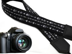Back and Whire Arrows camera strap. Black DSLR / SLR Camera Strap with triangles and rings. Durable, light weight and well padded camera strap. code 00013 >>> Click on the image for additional details. (This is an Amazon Affiliate link and I receive a commission for the sales)