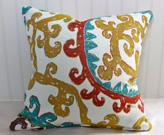 Gold, Teal, Red and Ivory Suzanni Pillow Cover / 18 X 18 / Same upholstery fabric both sides