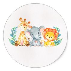 Watercolor Safari Animals Baby Shower Sticker – Baby Shower Ideas for Boys – Grandcrafter – DIY Christmas Ideas ♥ Homes Decoration Ideas Safari Animals, Baby Animals, Cute Animals, Scrapbooking Image, Baby Car Mirror, Baby Box, Safari Theme, My Little Baby, Baby Shower Decorations