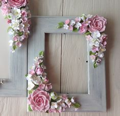 *POLYMER CLAY ~ Frame for wedding photo Blush pink roses, white and pink hydrangeas, white flowers, white ranunculus, white azaleas. White Gardenia, White Ranunculus, Pink Hydrangea, Flower Picture Frames, Flower Pictures, Flower Frame, Flower Mirror, Baby Pictures, Flower Window