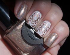 Cirque – Never Nude with accent nails in Cult Nails Tempest with Gals Plate GA35 and China Glaze Hi-Tek