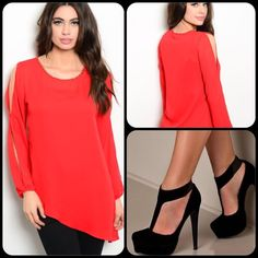 Stunning Red Top-SALE This top features long slit sleeves, rounded neckline with gold accents. Drapes to left side. Flowy sheer material. So elegant. 109% Polyester. Shoes not for sale. (This closet does not trade or use PayPal ) Day and Night Tops Blouses