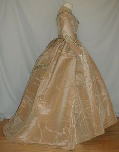 Shimmering 1860's Gold Silk Moire Antique Dress   eBay
