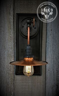 Industrial Copper Metal Shaded Wall Sconce – iD Lights Bronze Wall Sconce, Wall Sconces, Wall Lamps, Copper Tubing, Copper Metal, Polished Nickel, Pendant Lighting, Wall Lights, Industrial