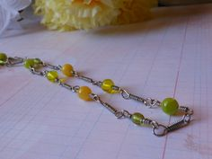 Handcrafted Yellow and Green Necklace by OurBeadedCharms on Etsy, $9.50
