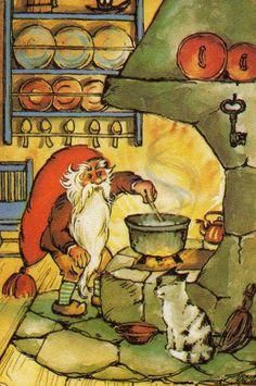 Finnish elf making Christmas porridge. Tonttu valmistaa JoulupuuroaIrma Salmi