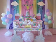 Top 10 Kid's Party Themes for a Rainy Indoor Birthday Party Unicorn Themed Birthday, Rainbow Birthday Party, Baby Birthday, 1st Birthday Parties, Kids Party Themes, Birthday Party Decorations, Baby Shower Decorations, Cloud Party, Indoor Birthday