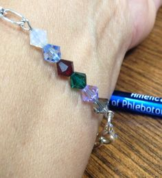Phlebotomy Order of Draw Bracelet White-blood culture Blue- citrate Red- serum  Green- heparin Lavender- EDTA Gray- oxalate- I LOVE MINE!