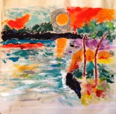Original artwork on canvas tote bag