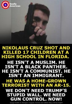 It's so freaking rediculous with how many school shootings the US has had..... We need gun control and we need it now. There is no reason for another innocent life to be taken.  -K