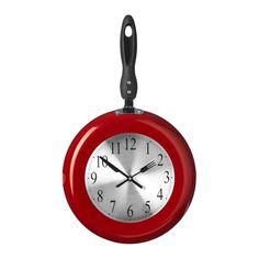 Wall Clock, Red Frying Pan Design, Metal/Plastic