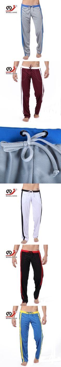 WJ brand men solid sweatpants Casual thin pants breathable straight trousers Polyester long pants