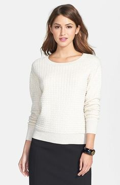 Halogen® Textured Jacquard Sweater (Regular & Petite) available at #Nordstrom