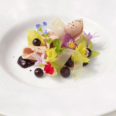 """Timothy Hollingsworth's Confit of Moulard Duck """"Foie Gras"""" - combines carefully shaved frozen #foiegras with pickled huckleberries and blossoms"""