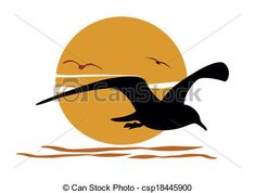 Vector - Silhouette of seagull on sea sunset - stock illustration, royalty free illustrations, stock clip art icon, stock clipart icons, logo, line art, EPS picture, pictures, graphic, graphics, drawing, drawings, vector image, artwork, EPS vector art