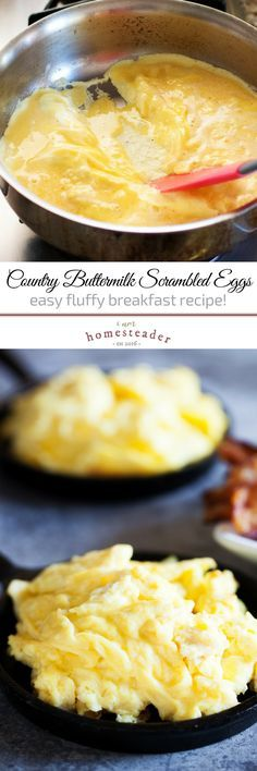 Looking for the best breakfast ideas? Try to do this Country Buttermilk Scrambled Eggs! You'll surely enjoy this healthy and fluffy recipe! Click the pin to learn how to make it! Check us out at #iamhomesteader for more healthy homemade cooking and homesteading recipes you can do at home. #healthyliving #Homestead #homesteading