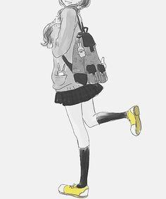 monochrome anime manga school girl uniform yellow shoes highsocks