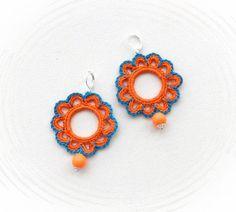 Crochet Earrings Beaded Earrings Circle por CraftsbySigita
