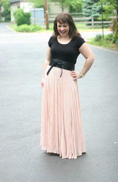 ballet maxi skirt, black tee & leather obi belt