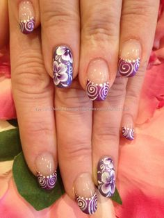 Gel nails with purple one stroke and freehand nail art