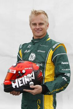 F1 driver Heikki Kovalainen and his brand new Angry Birds helmet