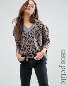 ASOS PETITE Sweater in Leopard Print