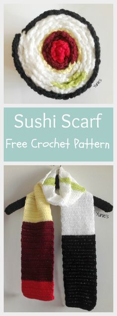Sushi Scarf is an unique design. Looks like a normal scarf when worn, but it magically becomes a yummy sushi when you roll it up!  Make yourself a yummy sushi scarf with this free crochet pattern
