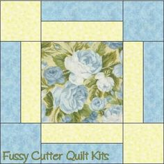 Blue Roses Shabby Chic Floral Fabric Easy Pre-Cut Quilt Blocks Top