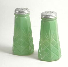 Rare Salt And Pepper Shakers | Vintage Green Glass Salt and Pepper Shakers by BoudreauCollection