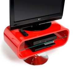 "Opod 31"" TV Stand in Red with Chrome Base. Perfect for a smaller space, in an eye catching red gloss. #dynamic_home #tvstand #red #modernstyle #homedecor #unique #smallspaces #livingroom"
