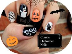 Classic Halloween Nails                               http://blondeslovecupcakes.wordpress.com/2013/10/09/classic-hallowen-nails-halloween-series/