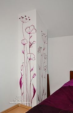 Get decorative wall Painting ideas and creative design tips to colour your interior home walls with Berger Paints. check out Inspirational wall design tip for interior walls. Wall Painting Flowers, Wall Painting Decor, Painting Walls, Bathroom Paintings, Painting Tips, Painted Flowers On Wall, Painting Doors, Wall Paintings, Painting Techniques