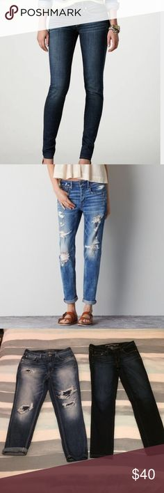 """Bundle ☪️ New AE Denim Listing is for two new pairs of jeans from American Eagle. BOTH are a size 8. 2 trusted pieces of denim for any girls closet! Style: """"Mom jeans"""" & """"Skinny"""". Please check American Eagle size chart for measurements and fit. -- Open to offers & bundles! 💛 American Eagle Outfitters Jeans Skinny"""