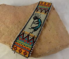 Kokopelli Loomed Cuff by BurroMtnArts on Etsy