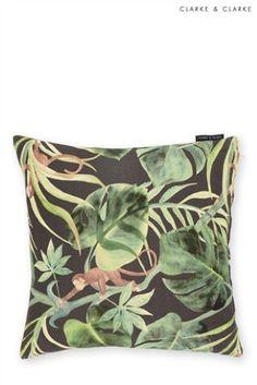 Charcoal Clarke & Clarke Feather Filled Monkey Cushion