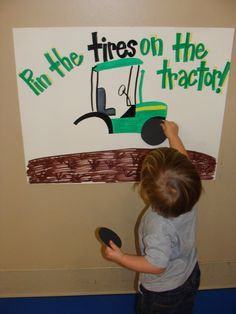 Pin the tires on the tractor is a fun John Deere birthday game. See more John D… Pin the tires on the tractor is a fun John Deere birthday game. See more John Deere birthday party ideas at www. Construction Birthday Parties, Cars Birthday Parties, Construction Party Games, Car Themed Birthday Party, Boys 2nd Birthday Party Ideas, Birthday Games For Kids, Truck Birthday Cakes, Farm Themed Party, Barnyard Party