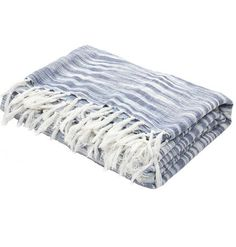 Watercolor Indigo Blue Cotton Throw Blanket – Sky Iris